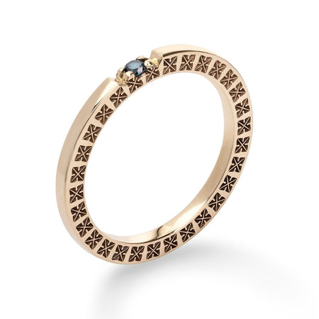 The Gold Ring with Blue Diamond - Fairy Ring