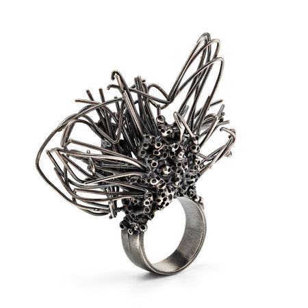 The Oxidized Silver Ring - Dragonfly battle