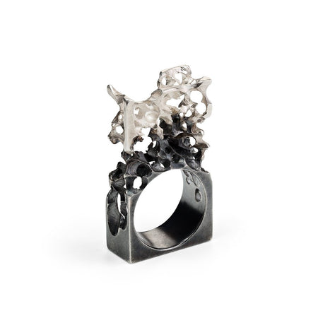 The Oxidized Silver Ring - Ring of happiness