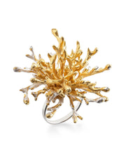 Gold plated Silver Ring - Coral