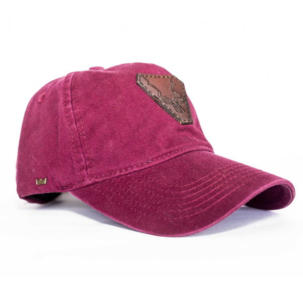 The Burgundy Leather Kudu Strapback Cap