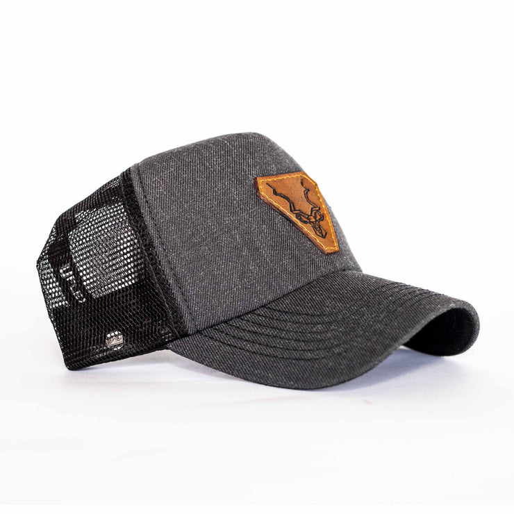 The Charcoal Leather Kudu Trucker