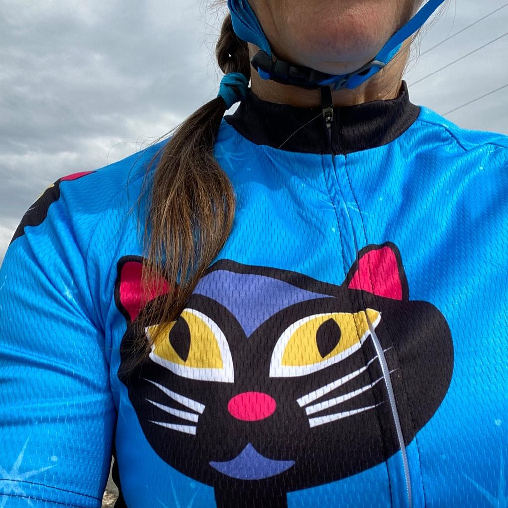 Women's Night Cat Blue Short Sleeve Cycling Jersey