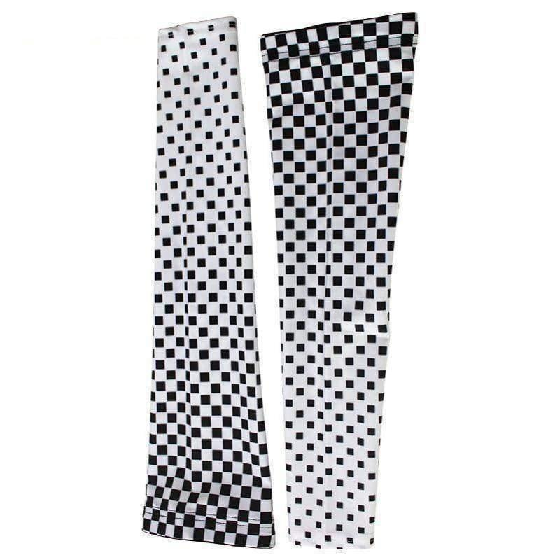 Chequered Flag White Cycling Arm Warmers-Online Cycling Gear Australia-Online Cycling Gear Australia