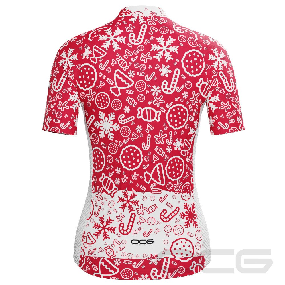 Women's Christmas Candy Short Sleeve Cycling Jersey