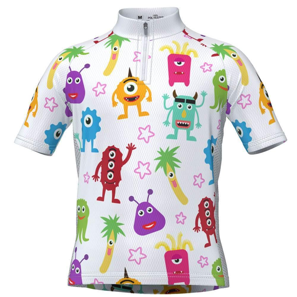 Kid's Happy Monsters Short Sleeve Cycling Jersey-OCG Kids-Online Cycling Gear Australia