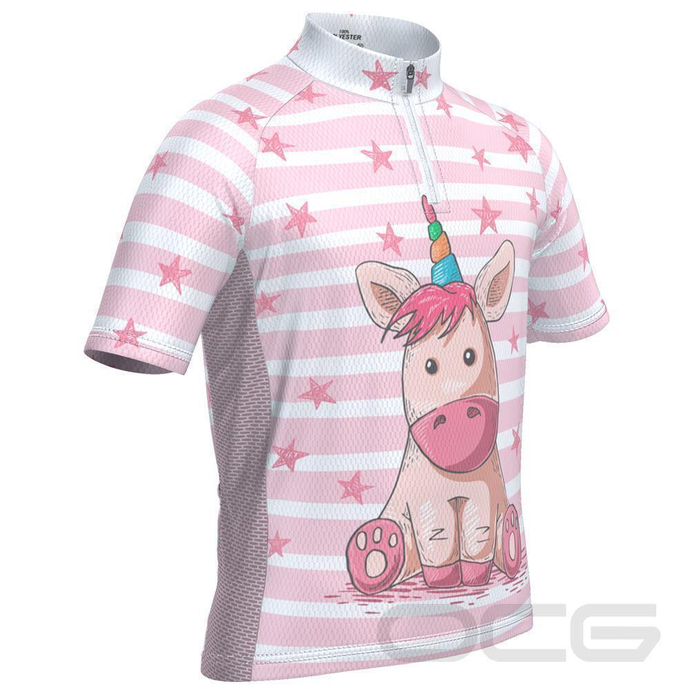 Kid's Pondering Unicorn Short Sleeve Cycling Jersey-OCG Kids-Online Cycling Gear Australia