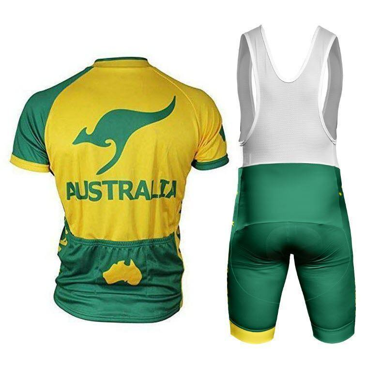 Men's Australia Green & Gold Kangaroo Pro-Band Cycling Kit-Online Cycling Gear Australia-Online Cycling Gear Australia