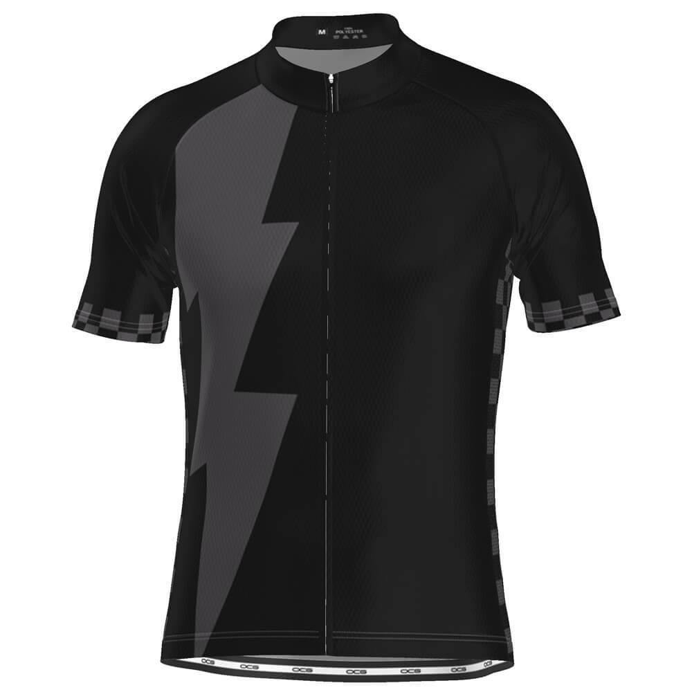 Men's Black Lightning Checkered Cycling Jersey-OCG Originals-Online Cycling Gear Australia