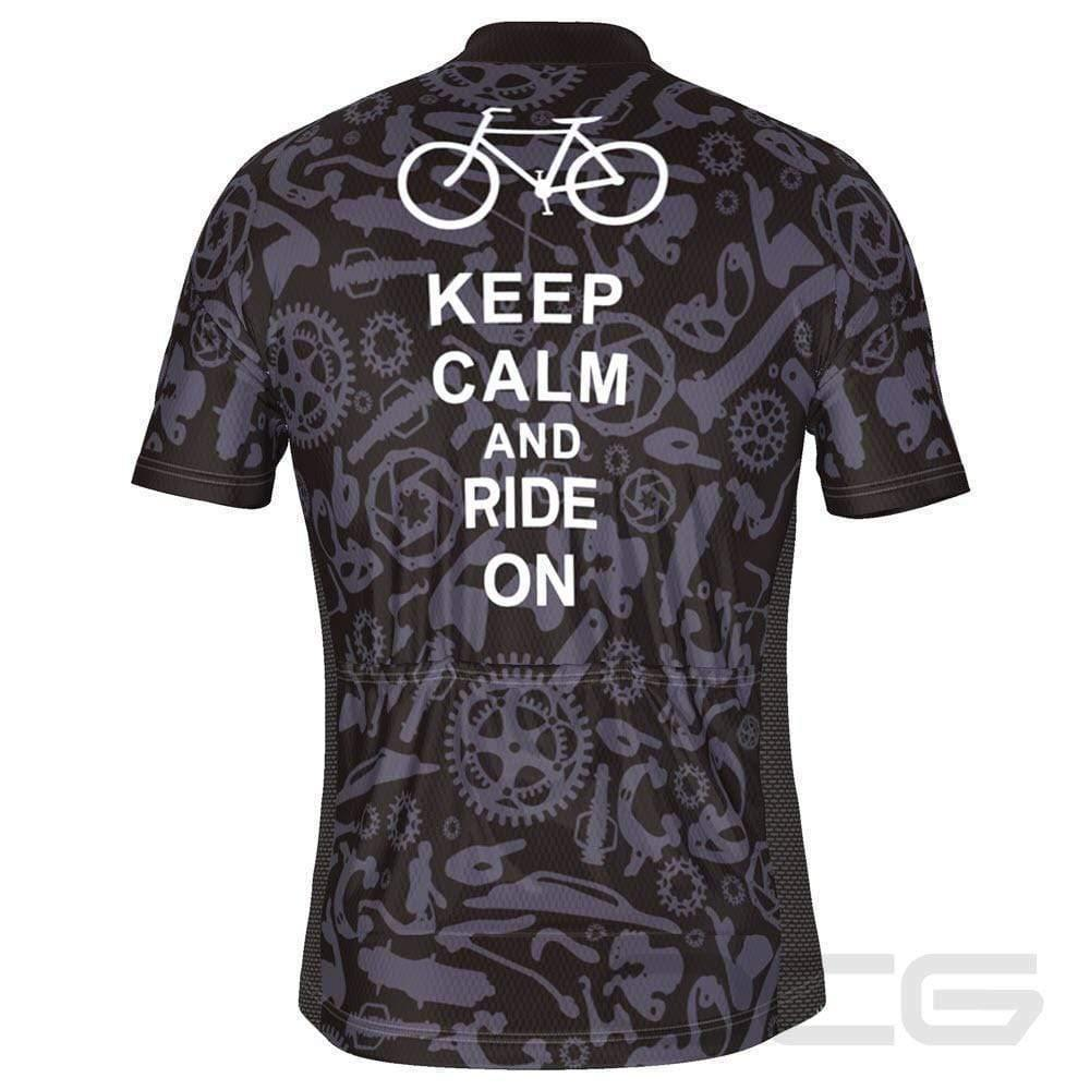 Men's Keep Calm and Ride On Icons Short Sleeve Cycling Jersey-Online Cycling Gear Australia-Online Cycling Gear Australia
