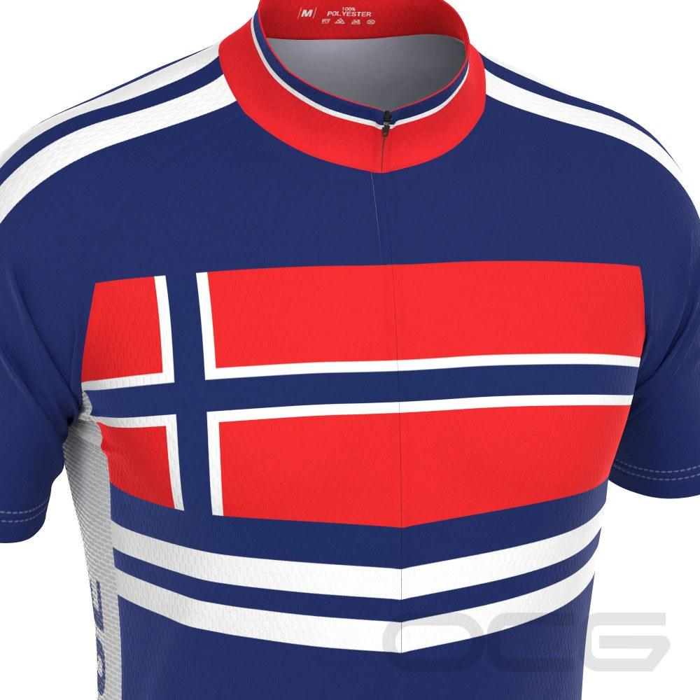 Men's Norway Norge Flag Short Sleeve Cycling Jersey-Online Cycling Gear Australia-Online Cycling Gear Australia