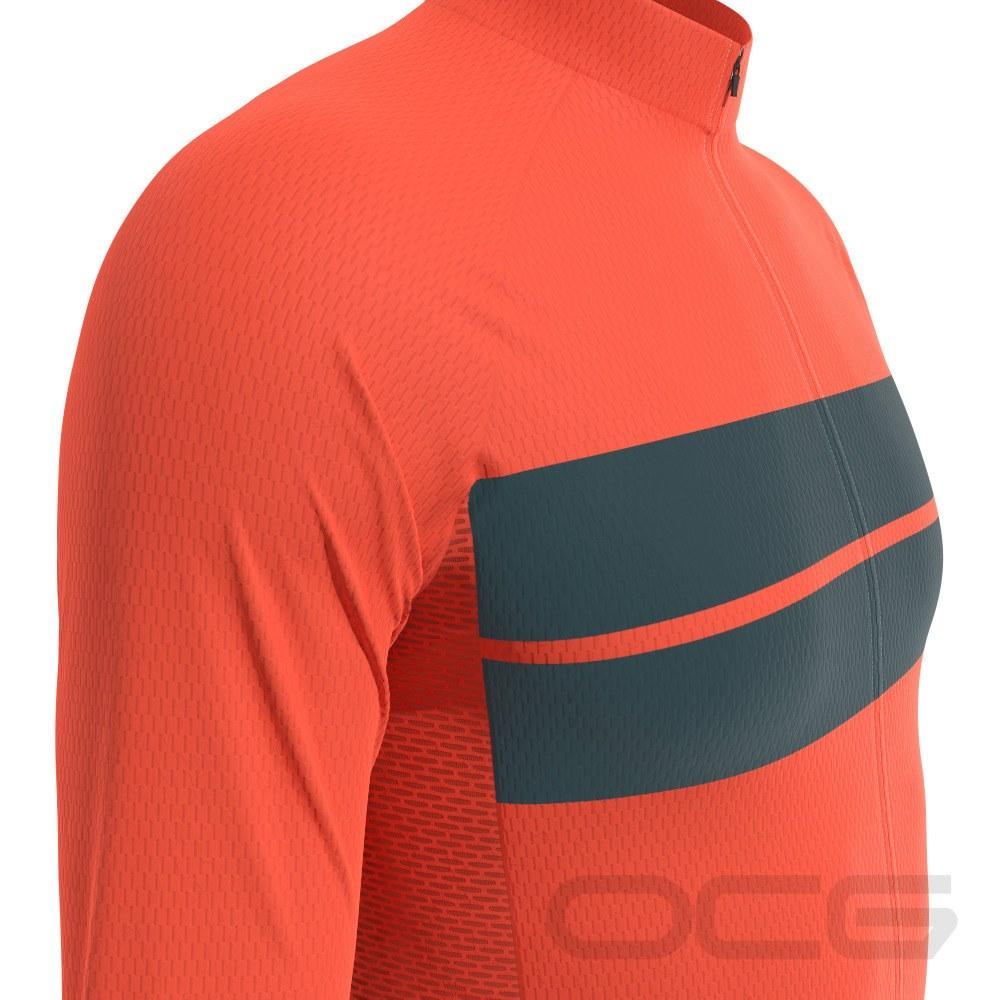 Men's Retro Two Stripe Orange Long Sleeve Cycling Jersey-Online Cycling Gear Australia-Online Cycling Gear Australia