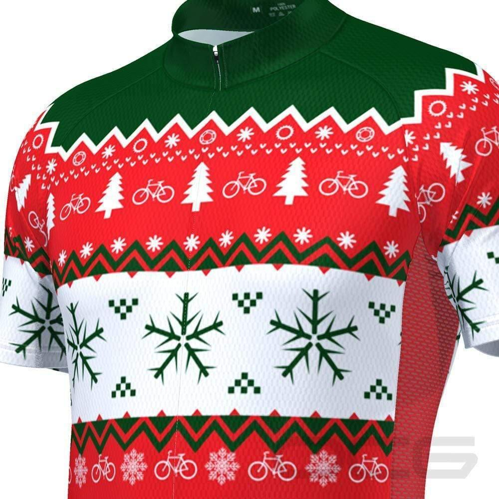 Men's Ugly Christmas Sweater Short Sleeve Cycling Jersey-Online Cycling Gear Australia-Online Cycling Gear Australia