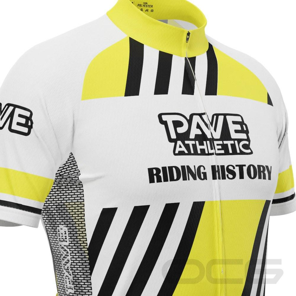 PAVE Athletic Retro Auto Yellow Short Sleeve Cycling Jersey