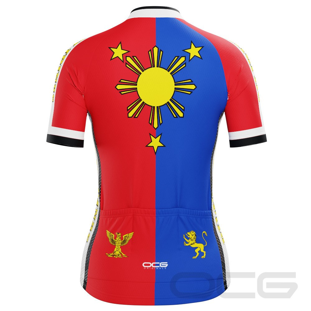 Women's Philippines Flag Pilipinas Short Sleeve Cycling Jersey