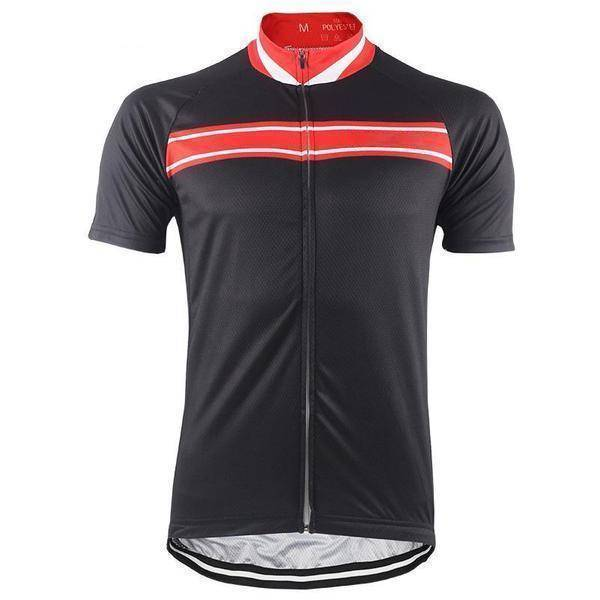 Red Stripe Black Cycling Jersey-Online Cycling Gear Australia-Online Cycling Gear Australia