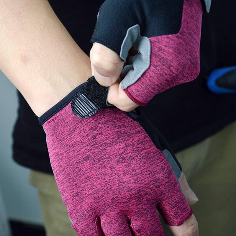 DV Suede Color Block Half-Finger Gel Padded Cycling Gloves - Online Cycling Gear Australia