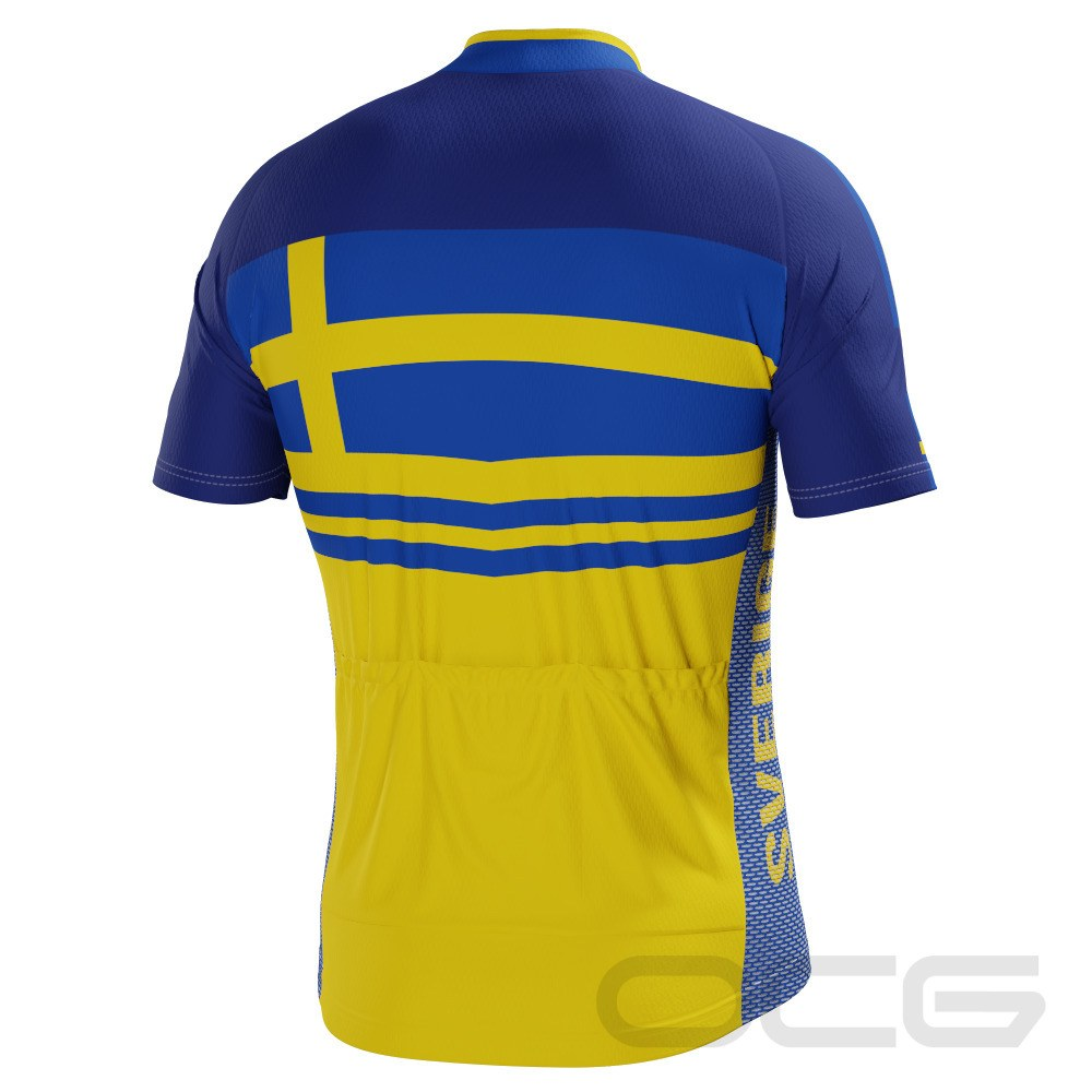 Men's Sweden Sverige Flag Short Sleeve Cycling Jersey