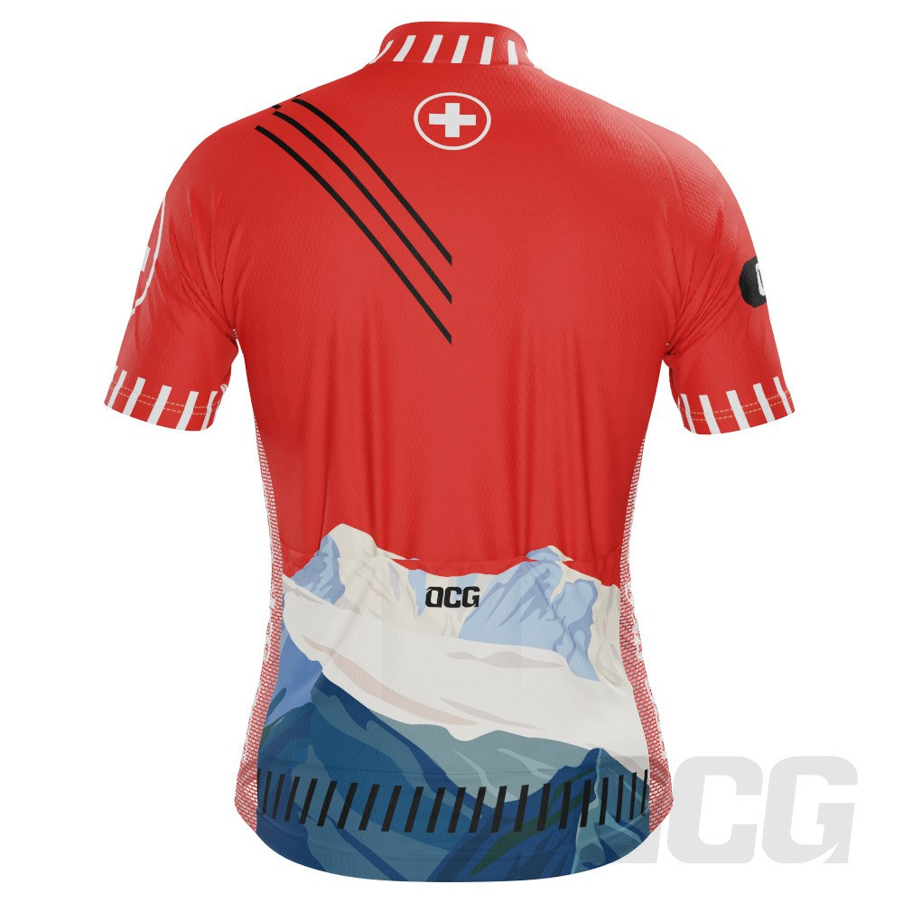 Men's Swiss Alps Switzerland Short Sleeve Cycling Jersey