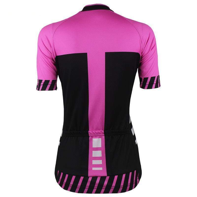 Women's Pink Top V-Neck Cycling Jersey By Online Cycling Gear