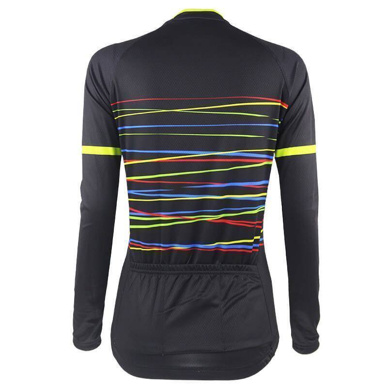Women's Colour Line Black Long Sleeve Cycling Jersey-Online Cycling Gear Australia-Online Cycling Gear Australia