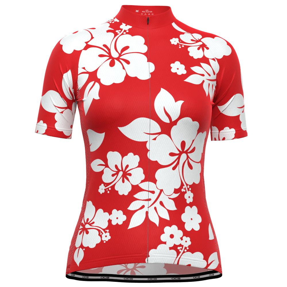 Women's Hawaiian Aloha Floral Short Sleeve Cycling Jersey