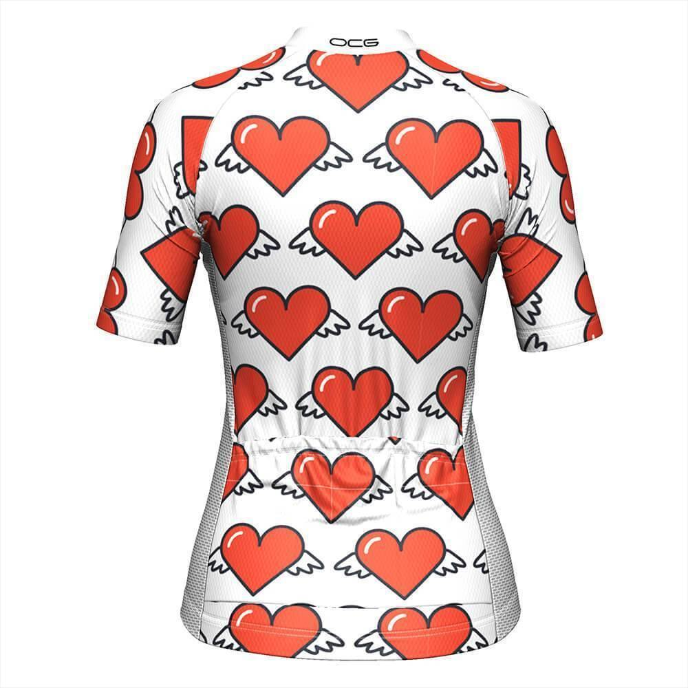 Women's Heart Angels White Cycling Jersey-OCG Originals-Online Cycling Gear Australia