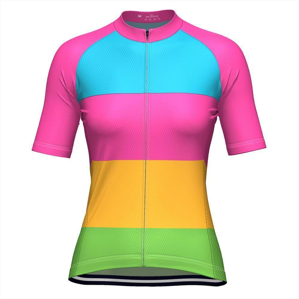 Women's Rainbow Candy Striped Cycling Jersey-OCG Originals-Online Cycling Gear Australia