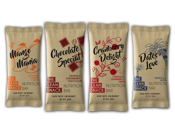 The Lean Snack assorted granola bars all four flavours front side