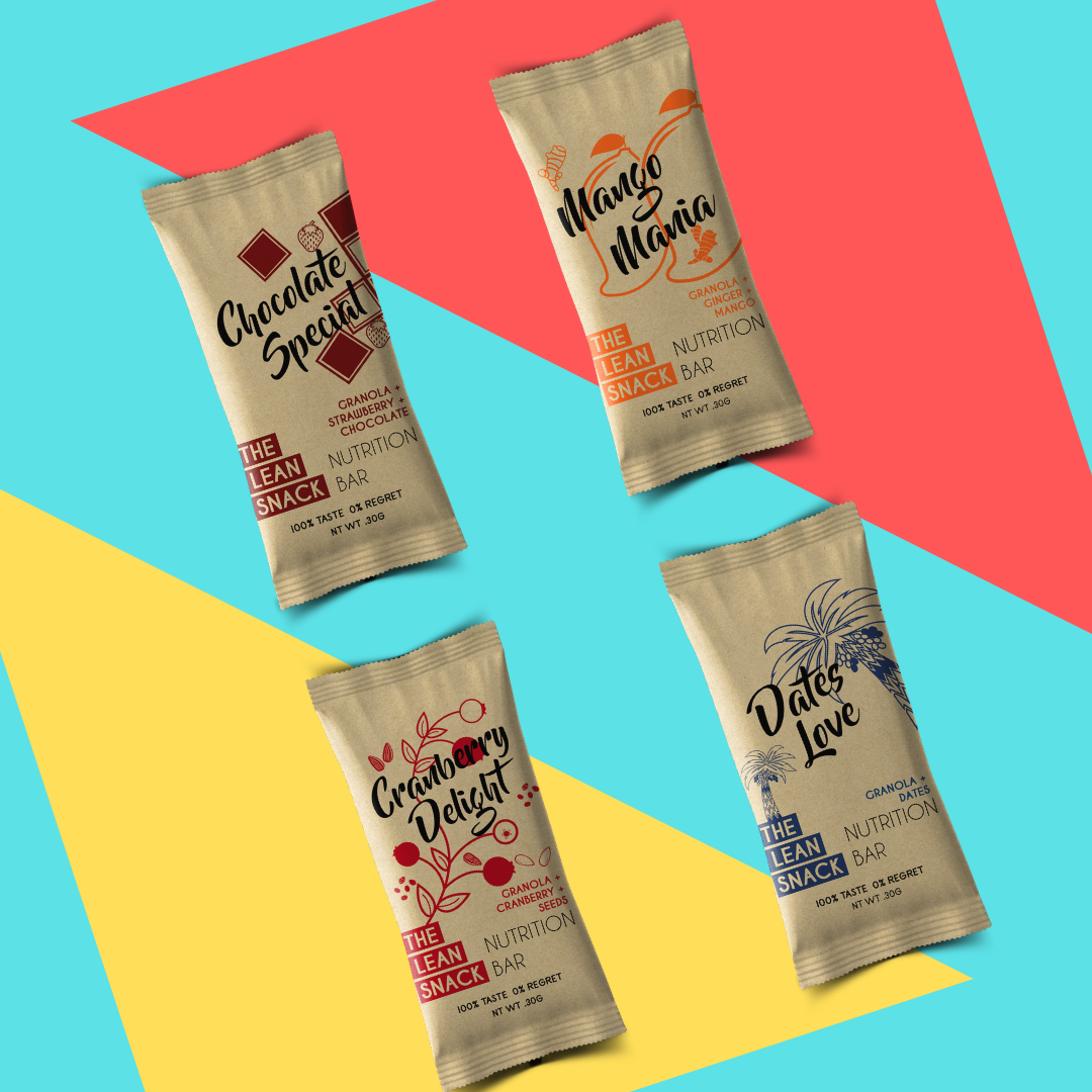 The Lean Snack assorted granola bar pack with four flavours
