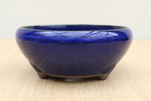 "(A) Glazed Round Japanese Pot - 5"" Blue"