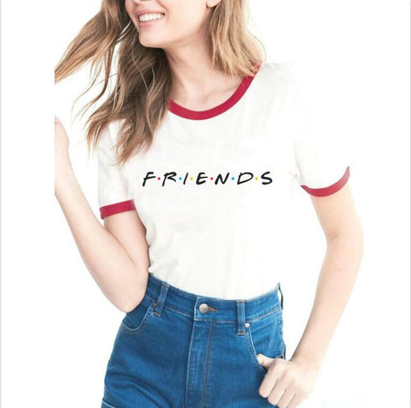 Social Hotcakes - Friends Tv Shows Women  Hipster Shirts Tumblr Graphic T-shirt Women  Letter Print Bbf Sleeve T Shirt Fashion Cotton Clothing Top -