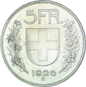 Switzerland / 5 Franken / 1926 / Rarities