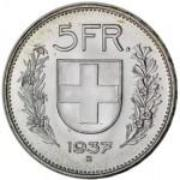 5 Franken / Silver / Non-current / 1931 - 1967 / 1969