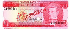 Barbados / P-29s / 1 Dollar / ND (1973) SPECIMEN