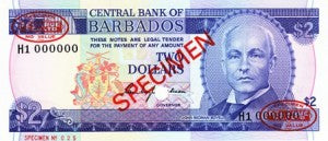 Barbados / P-30s / 2 Dollars / ND (1980) SPECIMEN