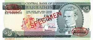 Barbados / P-31s / 5 Dollars / ND (1973) SPECIMEN