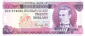 Barbados / P-39 / 20 Dollars / ND (1998)