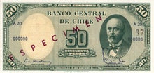 Chile / P-126s / 5 Centimos on 50 Pesos / ND (1960-61) / SPECIMEN
