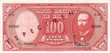 Chile / P-127s / 10 Centimos on 100 Pesos / ND (1960-61) / SPECIMEN