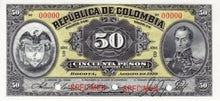Colombia / P-317s / 50 Pesos / August 1919 / SPECIMEN