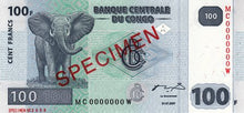 Congo Democratic Republic / P-098s / 100 Francs / 31.07.2007 / SPECIMEN