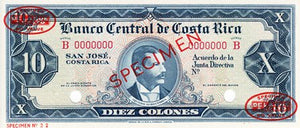 Costa Rica / P-229s / 10 Colones / ND (1962-67) / SPECIMEN