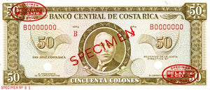 Costa Rica / P-232s / 50 Colones / ND (1965-70) / SPECIMEN