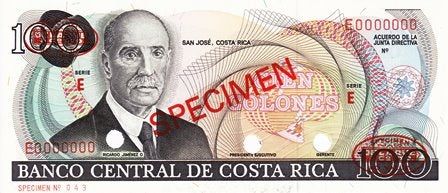 Costa Rica / P-248s / 100 Colones / ND / SPECIMEN