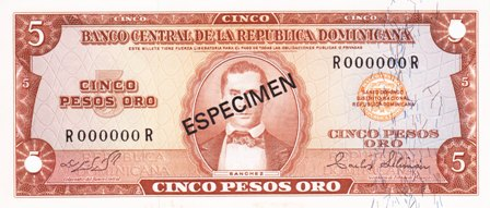 Dominican Republic / P-100s2 / 5 Pesos Oro / ND (1964-74) / SPECIMEN