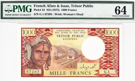 French Afars and Issas / P-34 / 1000 Francs / ND (1975)