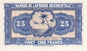 French West Africa / P-30a / 25 Francs / 14.12.1942