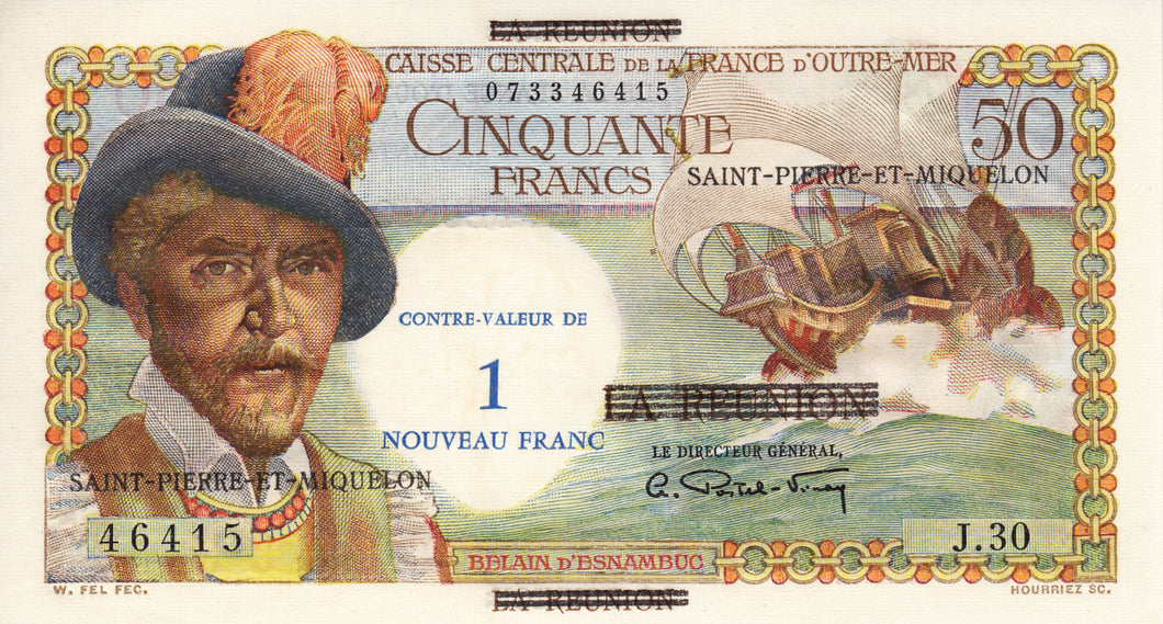 Saint Pierre and Miquelon / P-30b / 1 Nouveau Franc on 50 Francs / ND (1960)