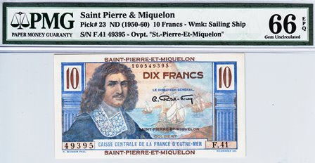 Saint Pierre and Miquelon / P-23 / 10 Francs / ND (1950-60)